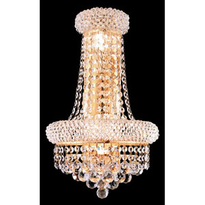 Primo Gold Four-Light 17-Inch Wall Sconce with Royal Cut Clear Crystal