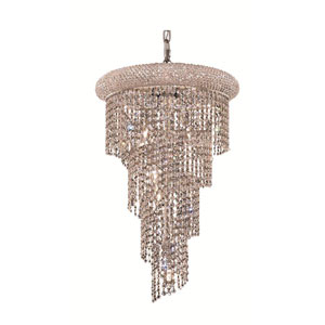 Spiral Chrome Eight-Light 16-Inch Chandelier with Royal Cut Clear Crystal