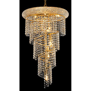 Spiral Gold Eight-Light 16-Inch Chandelier with Royal Cut Clear Crystal