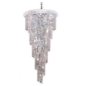 Spiral Chrome Eighteen-Light 22-Inch Chandelier with Royal Cut Clear Crystal
