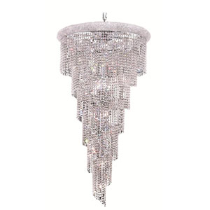 Spiral Chrome Twenty-Two Light 30-Inch Chandelier with Royal Cut Clear Crystal