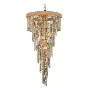 Spiral Gold Twenty-Two Light 30-Inch Chandelier with Royal Cut Clear Crystal