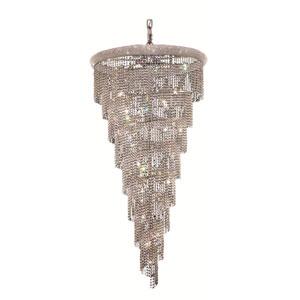 Spiral Chrome Twenty-Six Light 36-Inch Chandelier with Royal Cut Clear Crystal