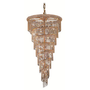 Spiral Gold Twenty-Six Light 36-Inch Chandelier with Royal Cut Clear Crystal