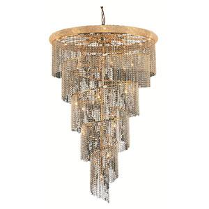 Spiral Gold Twenty-Nine Light 48-Inch Chandelier with Royal Cut Clear Crystal
