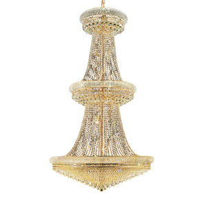 Primo Prism Gold Thirty-Eight Light 42-Inch Three-Tier Chandelier with Royal Cut Clear Crystal