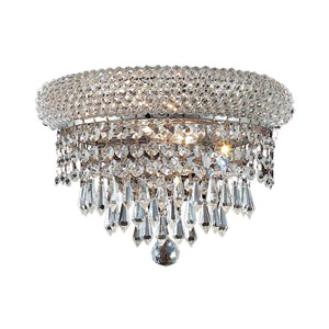 Primo Prism Chrome Two-Light 12-Inch Wall Sconce with Royal Cut Clear Crystal