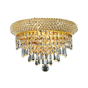 Primo Prism Gold Two-Light 12-Inch Wall Sconce with Royal Cut Clear Crystal