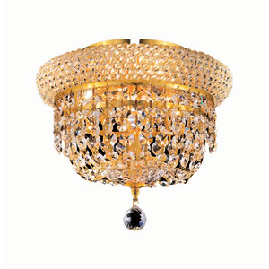 Primo Gold Three-Light 10-Inch Flush Mount with Royal Cut Clear Crystal and Crystal Drop