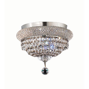 Primo Chrome Four-Light 12-Inch Flush Mount with Royal Cut Clear Crystal and Crystal Drop