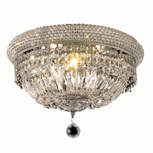 Primo Chrome Eight-Light 16-Inch Flush Mount with Royal Cut Clear Crystal and Crystal Drop