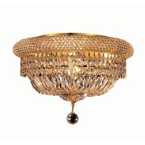 Primo Gold Eight-Light 16-Inch Flush Mount with Royal Cut Clear Crystal and Crystal Drop