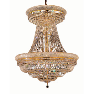 Primo Gold Twenty-Eight Light 36-Inch Two-Tier Chandelier with Royal Cut Clear Crystal and Crystal Drop