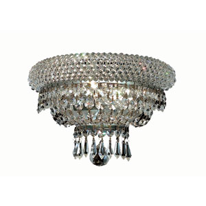 Primo Chrome Two-Light 12-Inch Wall Sconce with Royal Cut Clear Crystal and Crystal Drop