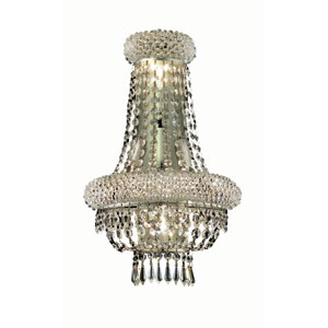 Primo Chrome Four-Light 18-Inch Wall Sconce with Royal Cut Clear Crystal and Crystal Drop