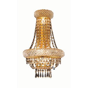Primo Gold Four-Light 18-Inch Wall Sconce with Royal Cut Clear Crystal and Crystal Drop