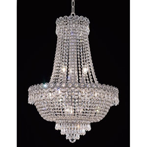 Century Chrome Twelve-Light 20-Inch Chandelier with Royal Cut Clear Crystal