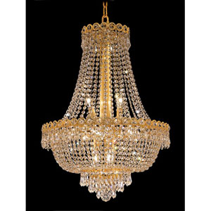 Century Gold Twelve-Light 20-Inch Chandelier with Royal Cut Clear Crystal