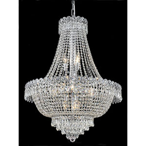 Century Chrome Twelve-Light 24-Inch Chandelier with Royal Cut Clear Crystal