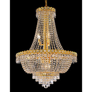 Century Gold Twelve-Light 24-Inch Chandelier with Royal Cut Clear Crystal