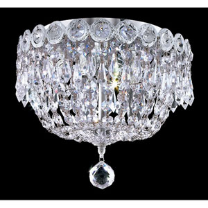 Century Chrome Three-Light 10-Inch Flush Mount with Royal Cut Clear Crystal