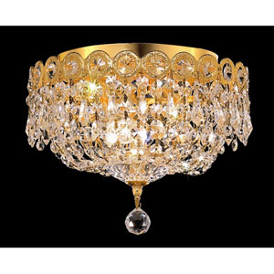 Century Gold Three-Light 10-Inch Flush Mount with Royal Cut Clear Crystal