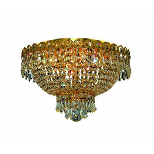 Century Gold Four-Light Flush Mount with Clear Royal Cut Crystals