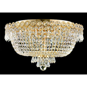 Century Gold Six-Light 18-Inch Flush Mount with Royal Cut Clear Crystal