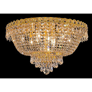 Century Gold Nine-Light 20-Inch Flush Mount with Royal Cut Clear Crystal