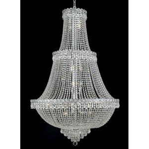 Century Chrome Seventeen-Light 30-Inch Three-Tier Chandelier with Royal Cut Clear Crystal