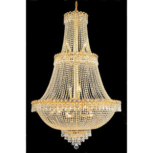 Century Gold Seventeen-Light 30-Inch Three-Tier Chandelier with Royal Cut Clear Crystal