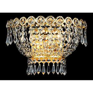Century Gold Two-Light 12-Inch Wall Sconce with Royal Cut Clear Crystal