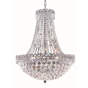Century Round Chrome Twelve-Light 24-Inch Chandelier with Royal Cut Clear Crystal