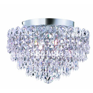 Century Prism Chrome Four-Light 12-Inch Flush Mount with Royal Cut Clear Crystal