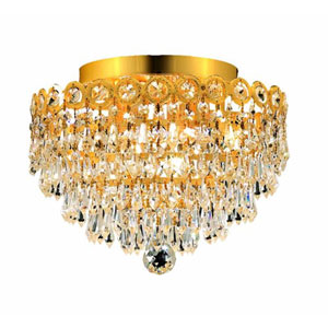 Century Prism Gold Four-Light 12-Inch Flush Mount with Royal Cut Clear Crystal