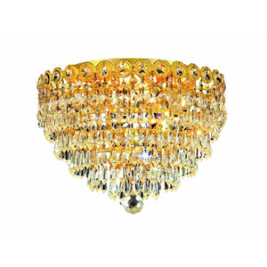 Century Prism Gold Four-Light 14-Inch Flush Mount with Royal Cut Clear Crystal