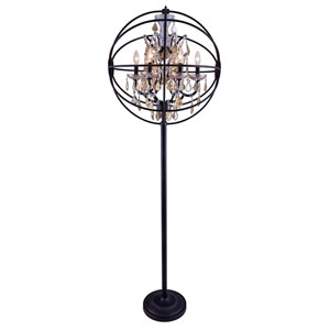 Geneva Dark Bronze Twenty-Four-Inch Floor Lamp with Golden Teak Crystals