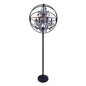Geneva Dark Bronze Twenty-Four-Inch Floor Lamp with Silver Shade Crystals