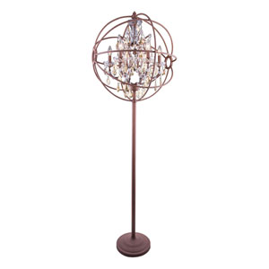 Geneva Rustic Intent Twenty-Four-Inch Floor Lamp with Golden Teak Crystals