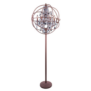 Geneva Rustic Intent Twenty-Four-Inch Floor Lamp with Silver Shade Crystals