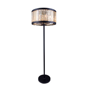Chelsea Mocha Brown Twenty-Five-Inch Floor Lamp with Golden Teak Crystals