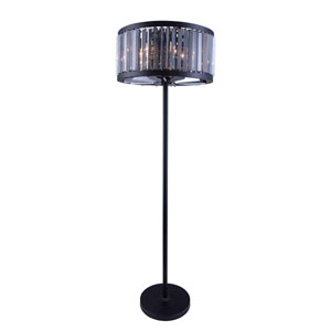 Chelsea Mocha Brown Twenty-Five-Inch Floor Lamp with Silver Shade Crystals