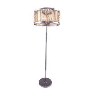 Chelsea Polished Nickel Twenty-Five-Inch Floor Lamp with Golden Teak Crystals