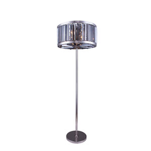 Chelsea Polished Nickel Twenty-Five-Inch Floor Lamp with Silver Shade Crystals