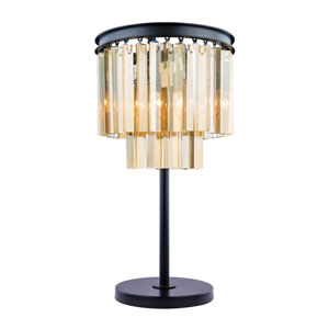 Sydney Mocha Brown Three-Light Table Lamp with Royal Cut Golden Teak Crystals