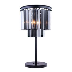 Sydney Mocha Brown Three-Light Table Lamp with Royal Cut Silver Shade Crystals