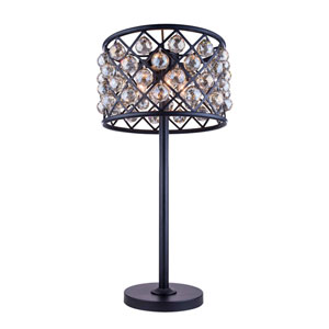 Madison Mocha Brown Three-Light Table Lamp with Royal Cut Golden Teak Crystals
