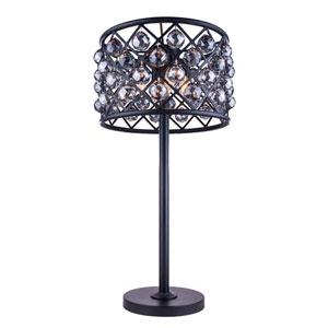 Madison Mocha Brown Three-Light Table Lamp with Royal Cut Silver Shade Crystals