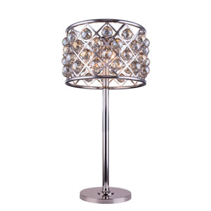 Madison Polished Nickel Three-Light Table Lamp with Royal Golden Teak Crystals
