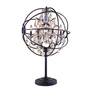 Geneva Dark Bronze Twenty-Two-Inch Table Lamp with Golden Teak Crystals